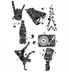 urban music icons vector image