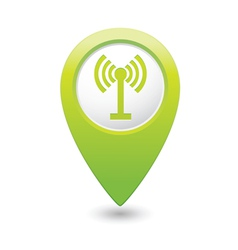 wi fi icon green map pointer vector image vector image