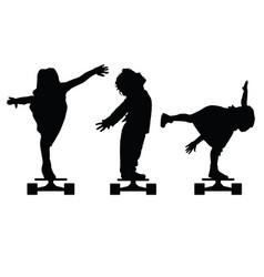 children silhouette on skate set in black vector image