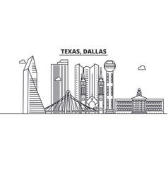 texas dallas architecture line skyline vector image