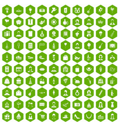 100 birthday icons hexagon green vector