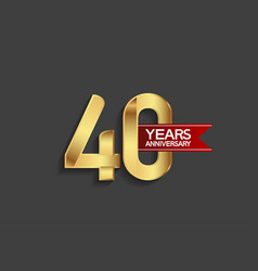 40 years anniversary simple design with golden vector