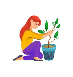 A kid holding a flower pot vector