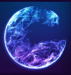 abstract blue demolished sphere vector image
