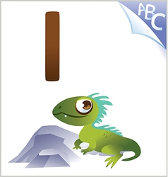 Animal alphabet for the kids I for the Iguana vector
