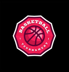 basketball league logo with ball pink color sport vector image