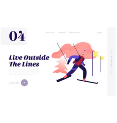 biathlon race skiing website landing page vector image