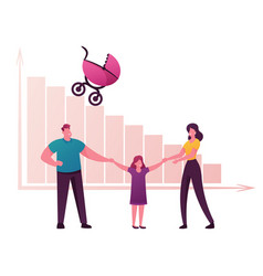 Birth rate and demographic datum concept happy vector