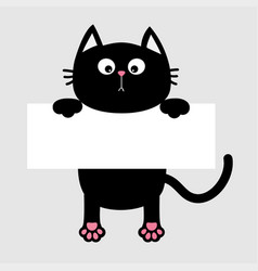 black funny cat hanging on paper board template vector image