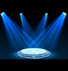 Blue spotlights with white podium on dark backgrou vector