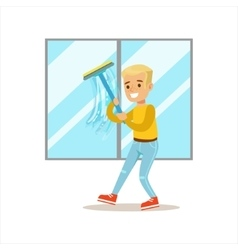 Boy Washing Windows With Squeegee Smiling Cartoon vector image
