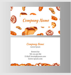 Business card template with bakery set vector