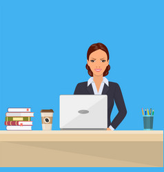 Business woman sitting desk working laptop vector
