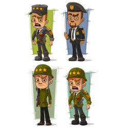 cartoon army general character set vector image