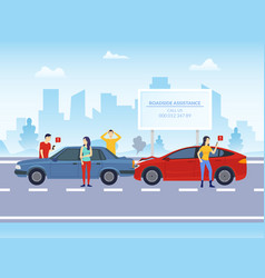 cartoon color characters people and car crash on a vector image