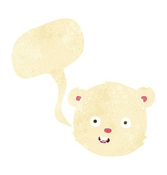 Cartoon polar teddy bear head with speech bubble vector