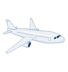 Cartoon white passenger airplane commercial vector