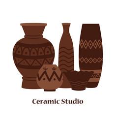 ceramic studio emblem design with clay vector image