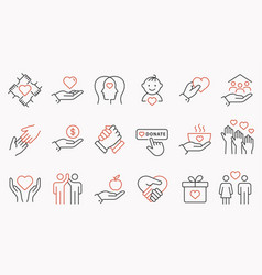 charity line icon set collection of handshake vector image