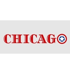 Chicago city name with flag colors styled letter O vector image