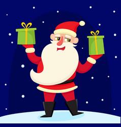 Christmas greeting card with cartoon santa claus vector