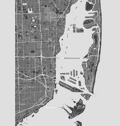 city map miami monochrome detailed plan vector image