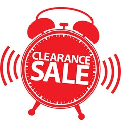 Clearance sale alarm clock red label vector