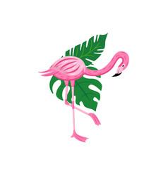 colorful cartoon flamingo looking down - exotic vector image