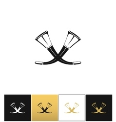Crossed hunting horns icon vector