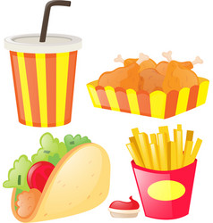 Different kind of junk food and soft drink vector
