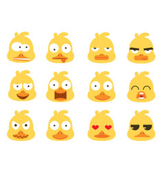Duck head face emotion set vector