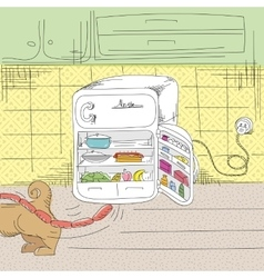 Fairy tale about a dog and refrigerator vector
