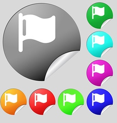 flag icon sign Set of eight multi-colored round vector image