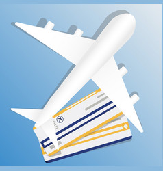 Flight ticket with airplane air vector