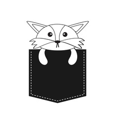 Fox in the pocket Cute cartoon contour character vector