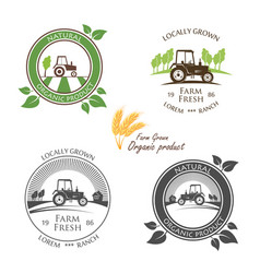 Fresh farm produce and logo tractor - vector