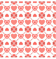 geometric seamless pattern of flat hearts vector image