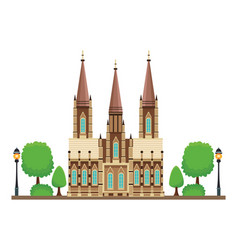 Gothic cathedral icon vector