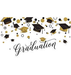Graduation word with graduate cap black and gold vector