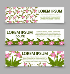 green banners template with plants and flowers vector image