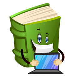 Green book is holding a laptop on white vector