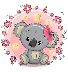 Greeting card koala with flowers vector