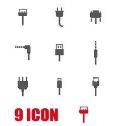 grey plug icon set vector image