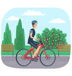 guy in helmet and sportswear riding in park man vector image