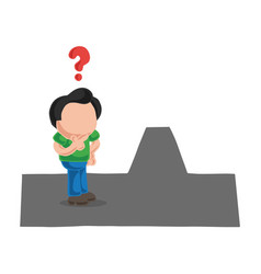 Hand-drawn cartoon of confused man on road vector