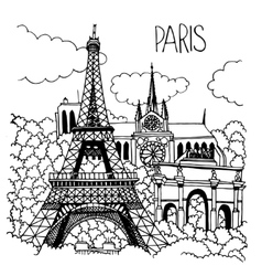 Hand drawn of Paris landmarks vector