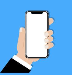 Hand holding frameless smartphone vector