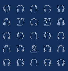 headphones linear concept music icons vector image