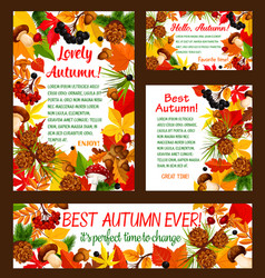 Hello autumn banner set with fall nature frame vector