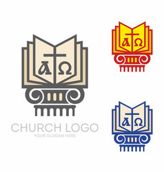 Holy bible cross alpha and omega vector